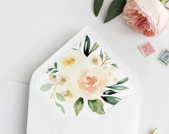 Envelope Flap Liner Template, Peach Floral and Greenery, Printable Wedding Envelope Insert, Instant Download, Various Sizes #076-104ENL