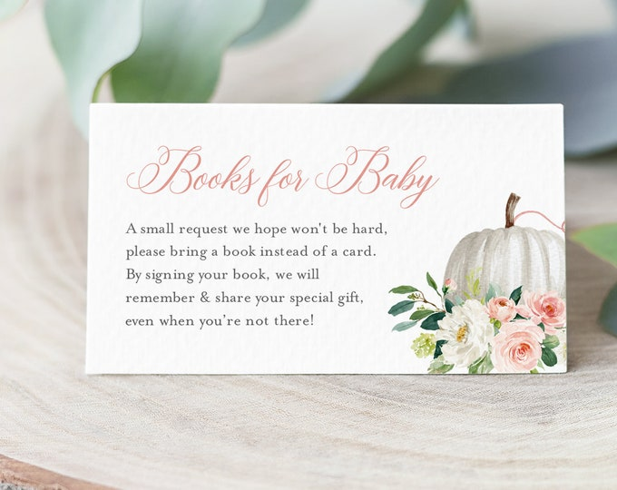 Pumpkin Books for Baby Card, Book Request, Fall Baby Shower Invitation Book Insert, Editable Text, INSTANT DOWNLOAD, Templett #072B-121BFB