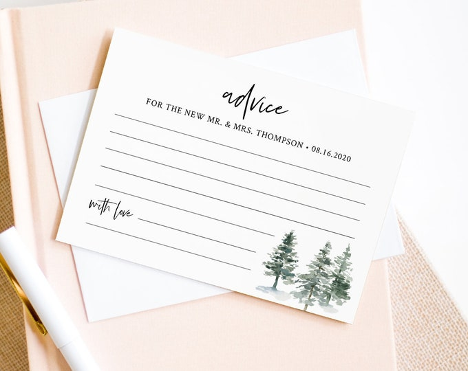 Wedding Advice Card Template, Printable Bridal Shower Advice, Rustic Pine Wedding Well Wishes, Editable Text, INSTANT DOWNLOAD #073-146EC