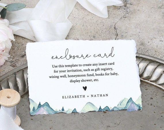 Mountain Enclosure Card Template, Wedding, Bridal Shower, Baby Shower, Any Insert Card, 100% Editable Text, Registry, Book Request 063-145EC