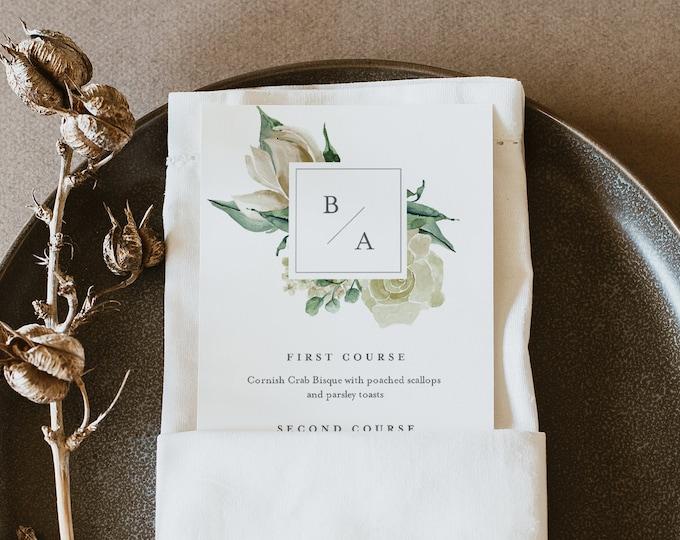 Cream Floral Menu Template, Printable Boho Rose Greenery Wedding Dinner Menu Card, 100% Editable Text, INSTANT DOWNLOAD, Templett #057-200WM