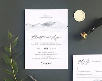 Rustic Wedding Invitation Set Template, Mountain Retreat, Winter Wedding, Minimalist, Mountain, INSTANT DOWNLOAD, Editable, Templett #004A