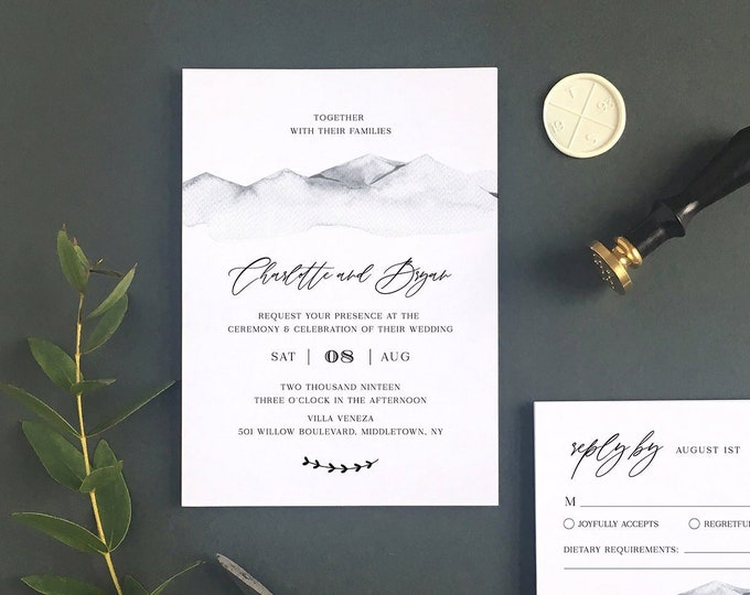 Rustic Wedding Invitation Set Template, Mountain Retreat, Winter Wedding, Minimalist, Mountain, INSTANT DOWNLOAD, Editable, Templett #004A