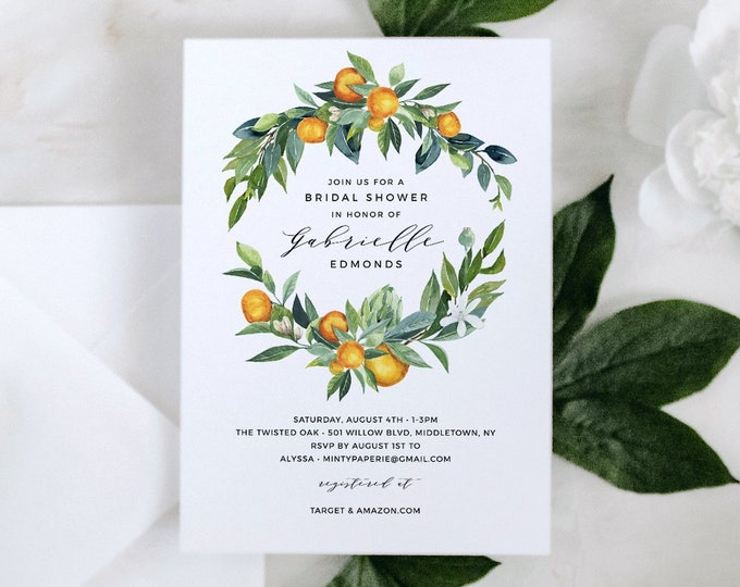 Citrus Bridal Shower Invitation Template, INSTANT DOWNLOAD, Printable Summer Wedding Shower Invite, Orange Greenery, Templett #084-237BS