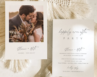 Photo Wedding Announcement, Elopement Template, Reception Party Invitation, Happily Ever After Party, Minimalist, Templett #0023-111EL