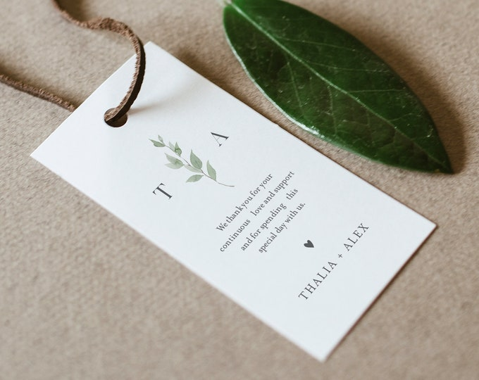 Favor Tag for Bridal Shower or Wedding, Delicate Greenery, Welcome Bag, Thank You Tag, Instant Download, Editable, Printable #0004B-171FT