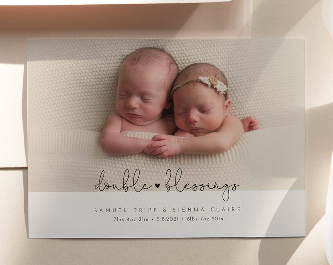 Twin Babies Birth Announcement, Minimal Photo Baby Announcement Card, Double Blessing, Editable Template, Instant Download, Templett #109BAC