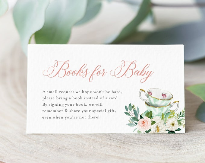 Books for Baby Card, Book Request, Tea Party Baby Shower Invitation Book Insert, 100% Editable Text, INSTANT DOWNLOAD, Templett #085-105BFB