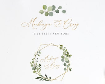 Wedding Logo Design, Watercolor Greenery Logo and Emblem, Custom Business Logo Template, 100% Editable Text, Instant Download  #056-103LD