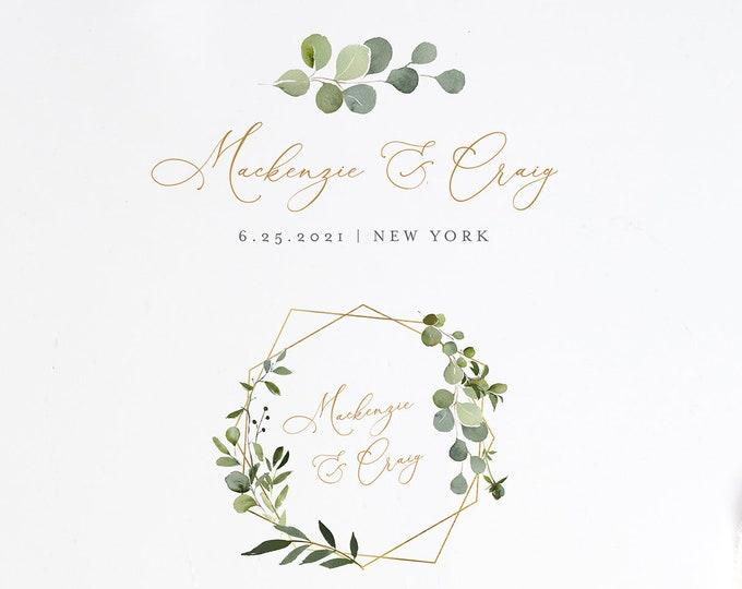Wedding Logo Design, Watercolor Greenery Logo and Emblem, Custom Business Logo Template, 100% Editable Text, Instant Download  #056-103LD