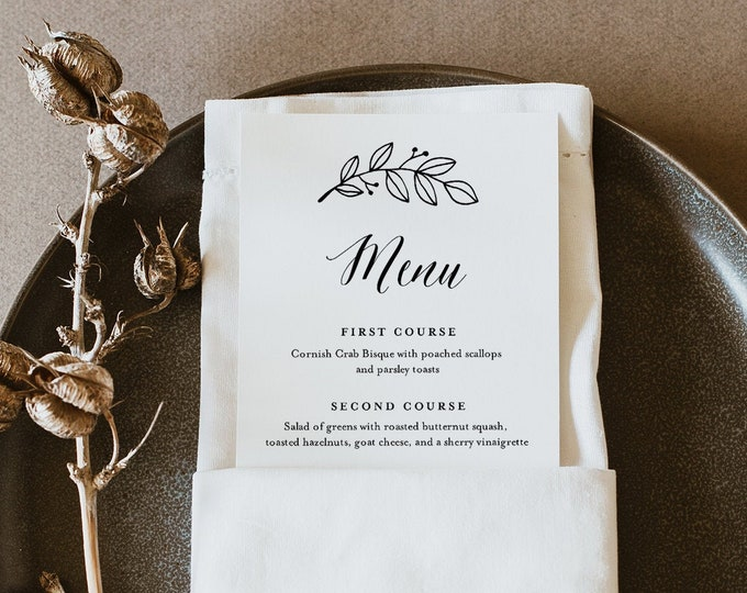 Rustic Laurel Menu Template, Printable Minimalist & Simple Wedding Dinner Menu Card, 100% Editable, INSTANT DOWNLOAD, Templett #039-173WM