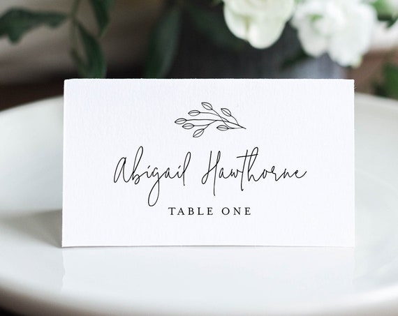 Minimalist Place Card Template, Printable Rustic Wedding Escort Card with Meal Option, INSTANT DOWNLOAD, Editable, Templett #095-157PC