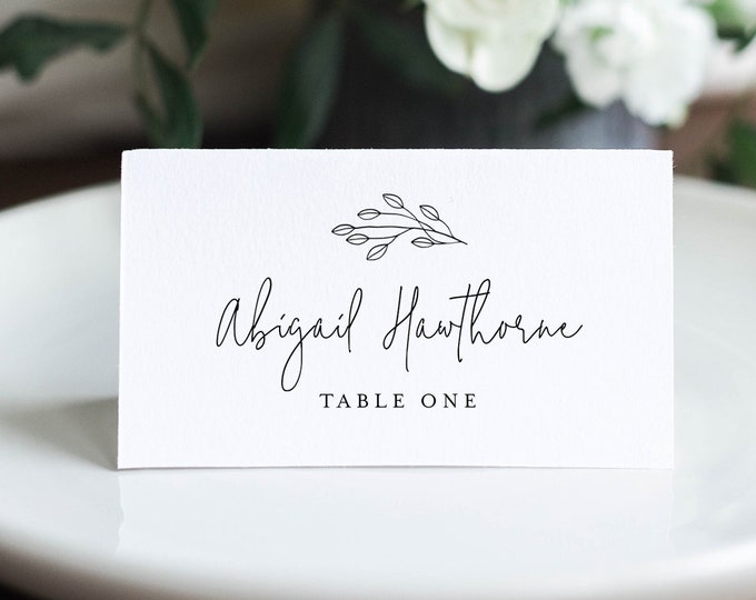 Minimalist Place Card Template, Printable Rustic Wedding Escort Card with Meal Option, INSTANT DOWNLOAD, Editable, Templett #095B-157PC