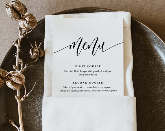Minimalist Menu Template, Printable Simple Wedding Dinner Menu Card, 100% Editable, Calligraphy, INSTANT DOWNLOAD, Templett #008-174WM