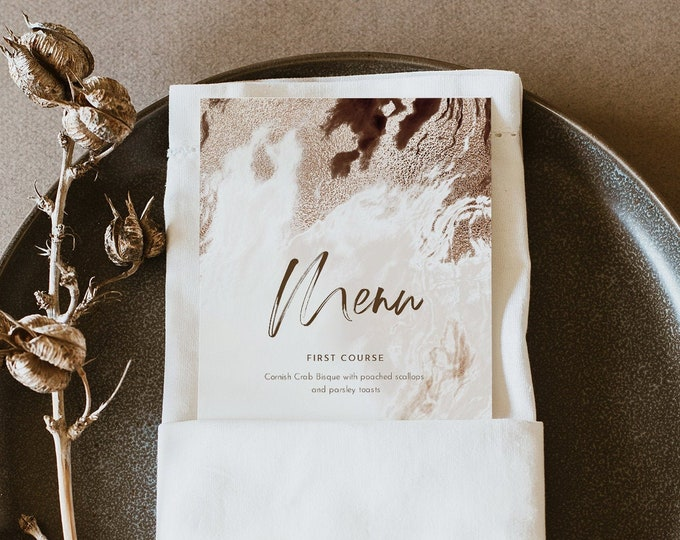 Agate Menu Template, Printable Earthy Geode Wedding Dinner Menu Card, Bohemian, 100% Editable, INSTANT DOWNLOAD, Templett #098-204WM