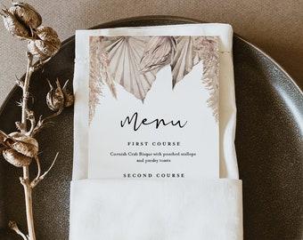 Pampas Menu Template, Bohemian, Printable Dried Foliage & Palm Wedding Dinner Menu Card, Editable, INSTANT DOWNLOAD, Templett #0022-202WM
