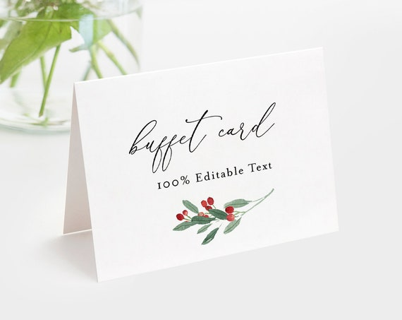 Holly Buffet Card Template, Food Label, Winter Wedding Buffet Printable, Instant Download, 100% Editable Text, Templett #071-106BC