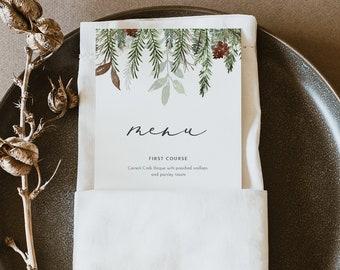 Winter Holiday Menu Template, Printable Pine Wedding Menu Card, Christmas Dinner Menu, 100% Editable, INSTANT DOWNLOAD, Templett #0017-194WM