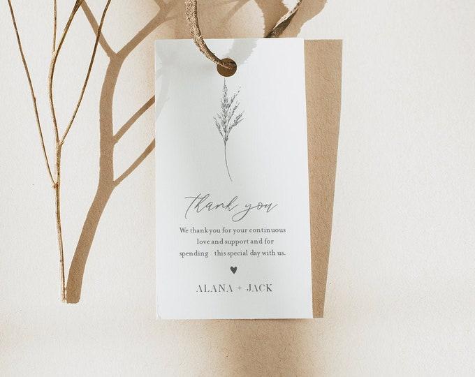 Lavender Favor Tag, Minimalist Bridal Shower or Wedding, Welcome Bag, Thank You Tag, Instant Download, Editable, Printable #0006C-174FT