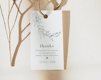 Laurel Favor Tag, Fine Art, Bridal Shower or Wedding, Welcome Bag, Thank You Tag, Instant Download, Editable, Printable #0006B-173FT