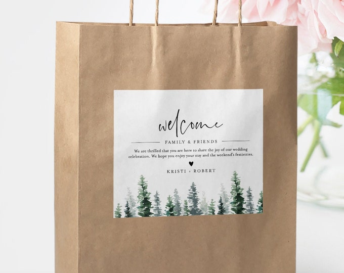 Welcome Bag Label Template, Welcome Box Sticker, Rustic Pine, Winter Wedding, INSTANT DOWNLOAD, Editable Hotel Bag, Templett #073-112WBL