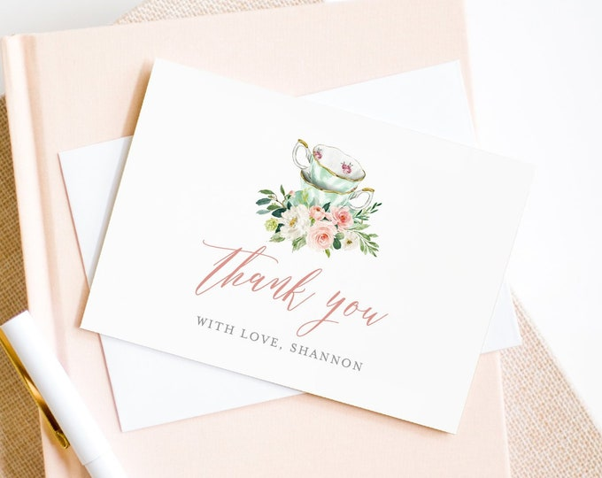 Tea Party Thank You Card Template, Printable Tea Bridal Shower, Folded Note Card, INSTANT DOWNLOAD, 100% Editable Text, Templett #085-118TYC