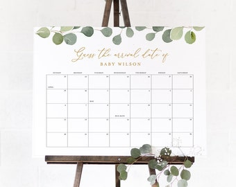 Guess Baby/'s Due Date Calendar Farm Baby Shower Game Gender Neutral Editable Template Instant Download S151