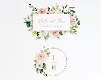 Wedding Logo Design, Watercolor Floral Logo and Monogram Emblem, Custom Business Logo, Editable Template, Instant Download, DIY  #043-101LD
