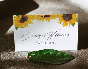 Sunflower Place Card Template, Printable Fall Wedding Escort Card with Meal Option, INSTANT DOWNLOAD, Editable, Templett #0010-175PC