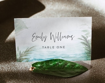 Beach Place Card Template, Printable Tropical Destination Wedding Escort Card with Meal Option, Instant Download, Templett #099A-180PC