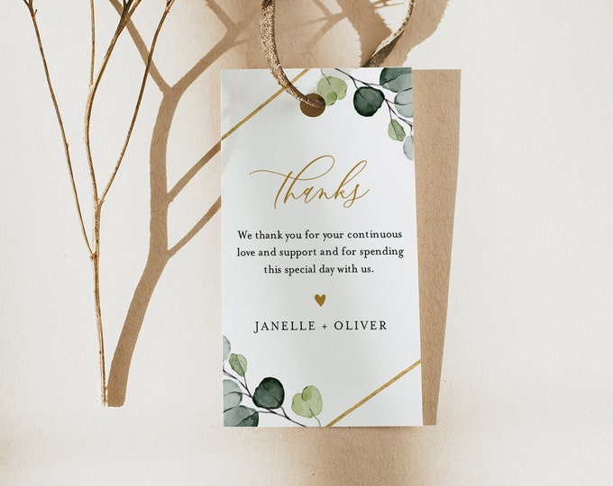 Favor Tag for Bridal Shower or Wedding, Greenery and Gold Thank You Tag, INSTANT DOWNLOAD, Editable, Printable, Templett #007-158FT
