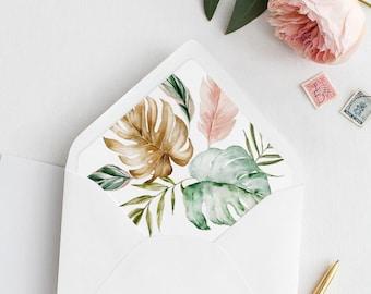Tropical Envelope Flap Liner Template, Printable Wedding Envelope Insert, DIY, Instant Download, Various Sizes, Euro Flap #087-105ENL