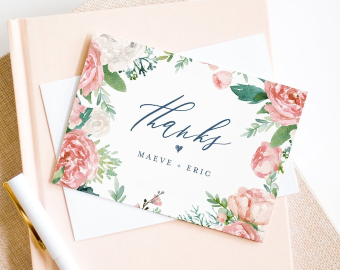 Thank You Note Card Template, Printable Boho Floral & Greenery Wedding / Bridal Shower Folded Card, INSTANT DOWNLOAD, Editable #069-116TYC