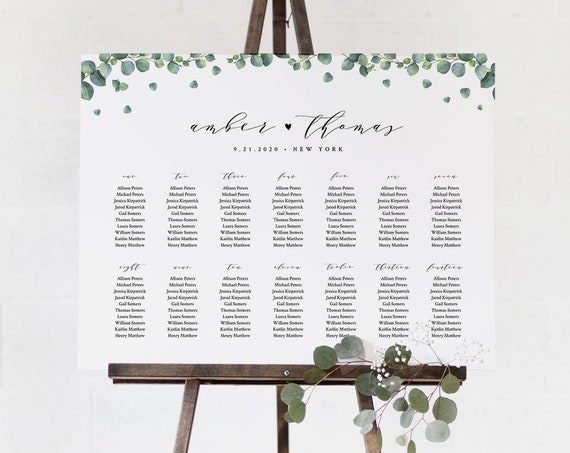 Eucalyptus Seating Chart Template, Wedding Seating Sign, Alphabetical & Table Number Order, 100% Editable Text, INSTANT DOWNLOAD #036-240SC