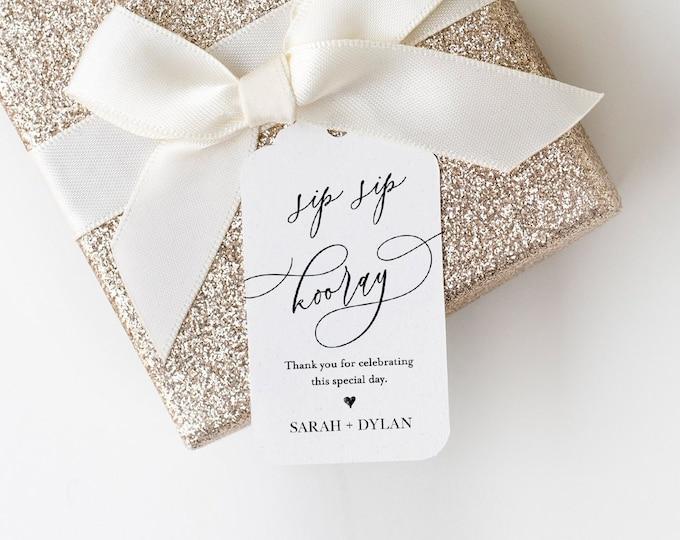 Sip Sip Hooray Tag, Bridal Shower Favor Tag, Wedding Favor Tag, 100% Editable Template, Printable Tag, Gift Tag, INSTANT DOWNLOAD #118FT