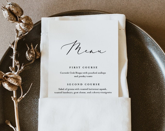 Minimalist Menu Template, Printable Modern Simple Wedding Dinner Menu Card, 100% Editable, INSTANT DOWNLOAD, Templett, 3.5x8.5 #045-201WM