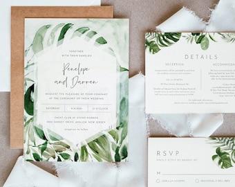 Jungle Wedding Invitation Set, Destination Tropical Beach Wedding Invite, RSVP, Details, Editable Template, INSTANT DOWNLOAD, Templett #099B