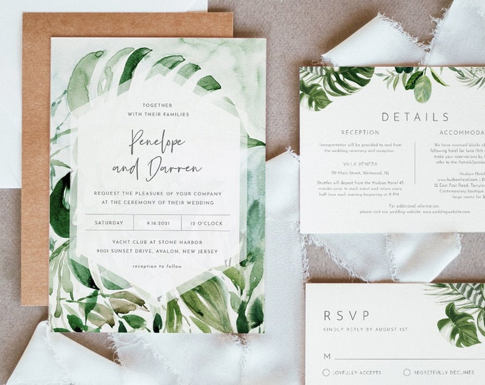 Jungle Wedding Invitation Set, Destination Tropical Beach Wedding Invite, RSVP, Details, Editable Template, INSTANT DOWNLOAD, Templett #099B