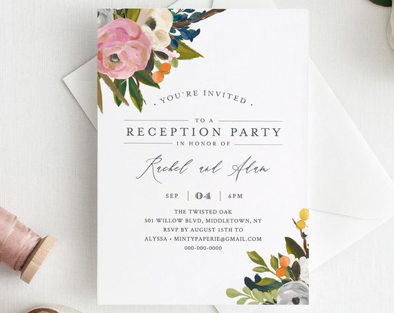Reception Party Invitation Template, Summer Blossom, INSTANT DOWNLOAD, 100% Editable Text, Printable Elopement, DIY, Templett #054-110WR
