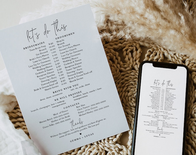 Bridal Party Itinerary, Minimalist Wedding Timeline, Order of Events, Itinerary for Bridesmaid & Groomsmen, Editable, Templett #095-103BPT