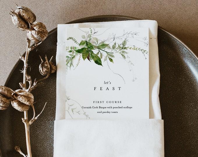 Modern Menu Template, Minimalist Greenery Wedding Dinner Menu Card, INSTANT DOWNLOAD, 100% Editable Text, Templett, 3.5x8.5 #0011-181WM
