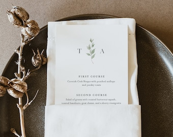 Minimalist Menu Card Template, Monogram Dinner Menu, Wedding Menu Card Printable, 100% Editable, Instant Download, Templett #0004B-178WM