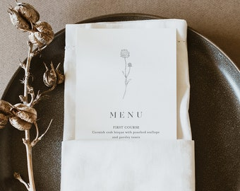 Dandelion Menu Template, Printable Minimalist & Fine Art Wedding Dinner Menu Card, 100% Editable, INSTANT DOWNLOAD, Templett #0006A-186WM