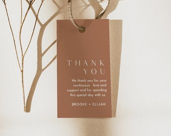 Terracotta Favor Tag Template, Thank You Tag, Bridal Shower, Wedding, Baby Shower, Editable Text, Instant Download Templett #0020-191FT