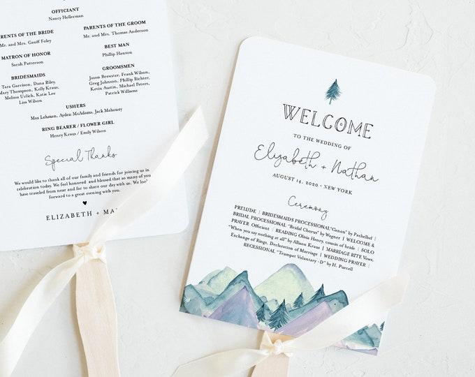Mountain Wedding Program, Fan or Flat Program, Rustic Pine Order of Service, Editable Template, Instant Download, Templett #063-425WP