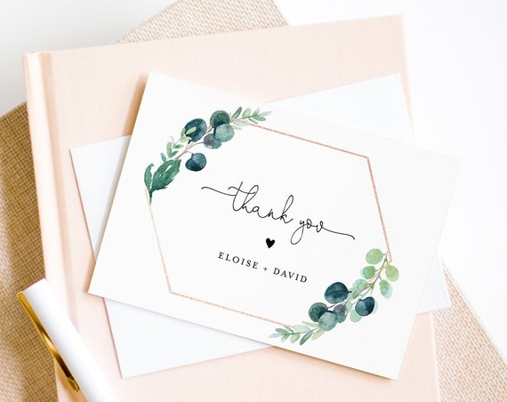 Greenery Thank You Card Template, Editable Wedding, Bridal Shower, Baby Shower Thank You Note Card, Printable, INSTANT DOWNLOAD #068-129TYC
