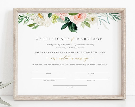 Marriage Certificate, Boho Blush Floral Wedding Certificate, Wedding Keepsake, Editable Text, Instant Download, 8x10, 16x20 #043-106MC