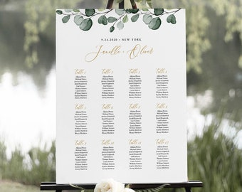 Greenery Seating Chart Poster, Printable Wedding Seating Sign, Instant Download, Editable Template, Templett, US & UK Sizes #007-255SC