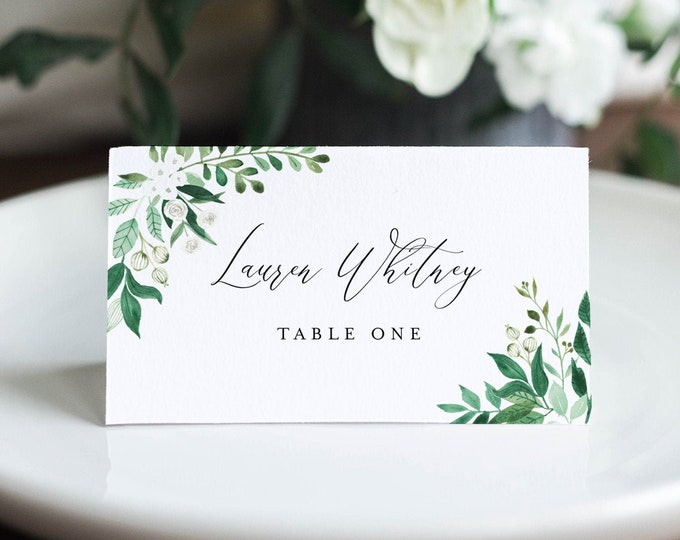 Greenery Place Card Template, Printable Garden Wedding Escort Card with Meal Option, INSTANT DOWNLOAD, Editable, Templett #080A-174PC