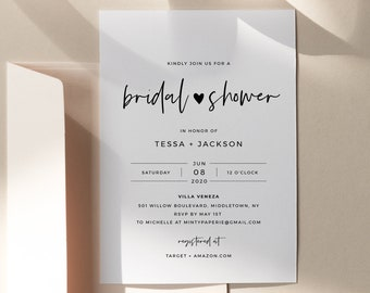 Minimalist Bridal Shower Invitation Template, Simple Couples Shower Invite, Heart Wedding Shower, 100% Editable, INSTANT DOWNLOAD #088-252BS